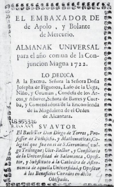 Almanaque de Torres para 1722